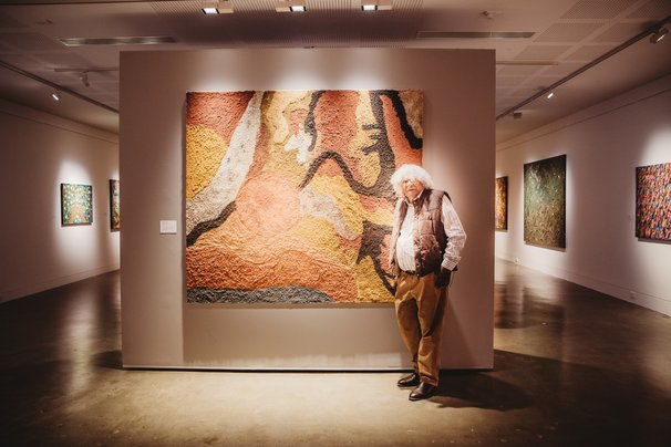 Digby Moran and installation view of 'Growing up on the Island'