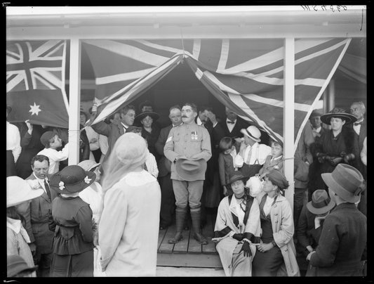 Sergeant John Degnin on 17 December 1916, at the presentation to him of 'Mosman Cottage', a house built by volunteers through the Frenchs Forest soldier settlement scheme.