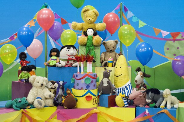 Collection of toys ready for Happy Birthday Play School