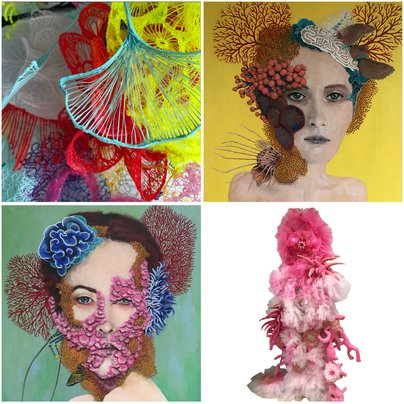 Coral sculpture, FACE CORAL portrait paintings & wearable sculpture